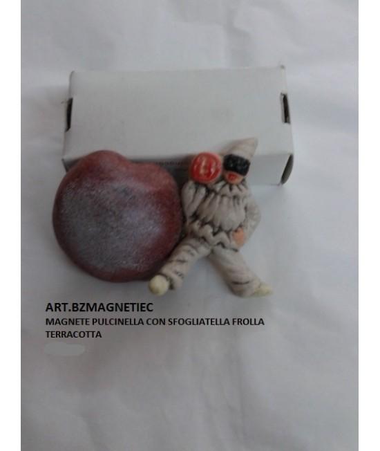 MAGNETE TERRACOTTA SFOGLIATA FROLLA CON PULCINELLA