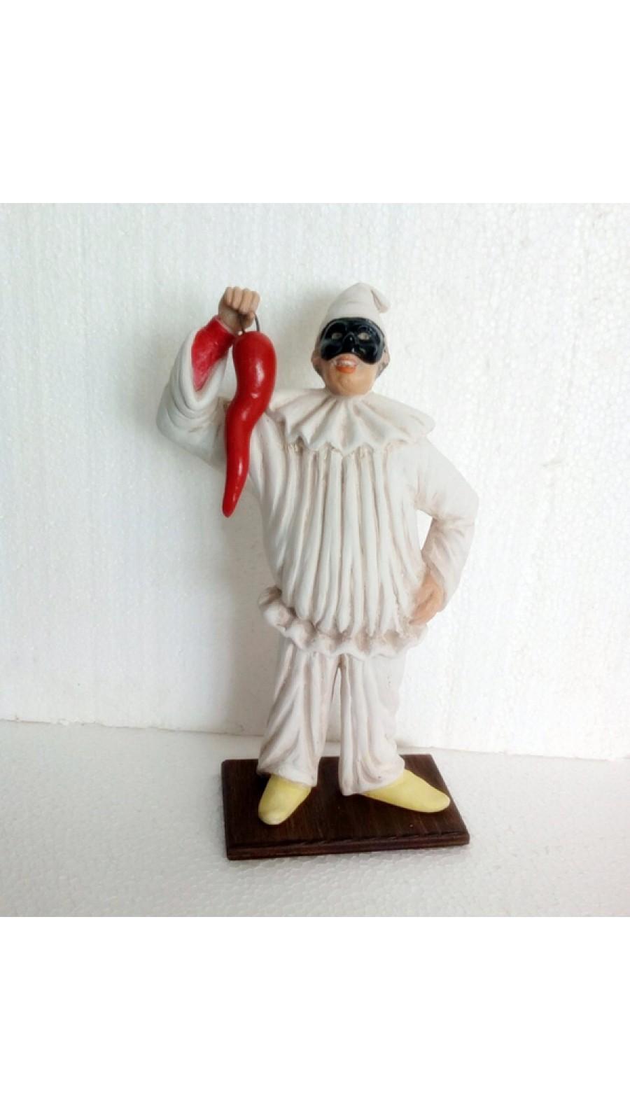 Pulcinella Terracotta  con Corno (CM 30)