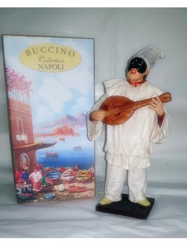 Pulcinella Terracotta Vestito con Mandolino (CM 30)