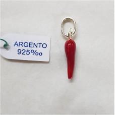 CORNO ARGENTO 925 SMALTATO H.2CM